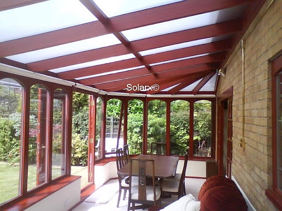 Inside view of Conservatory Roof with Deluxe Silver Shade Film applied