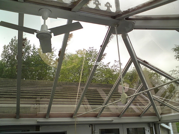 Internal View Through Roof of Conservatory with Solar Bronze Film